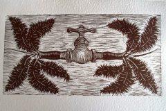El Guardián de las Orillas. Linografía / papel manufacturado